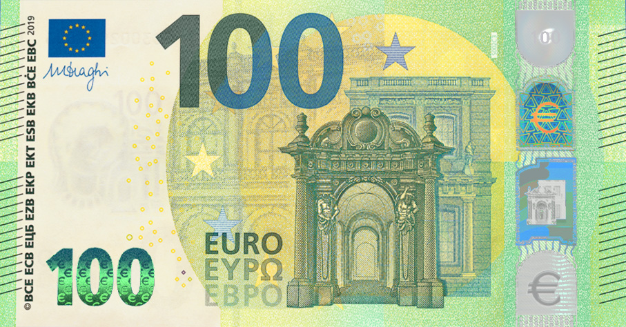 2019 new €100 and €200 euro banknotes - EUROPA series new 100 euro note - new 100 euro - new euro notes - new euro banknotes