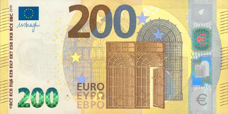 2019 new €100 and €200 euro banknotes - EUROPA series