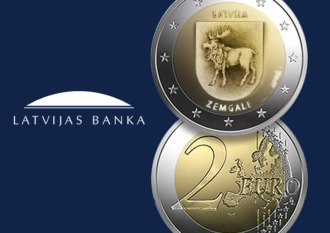 New 2018 latvian €2 commemorative coin dedicated to ZEMGALE region