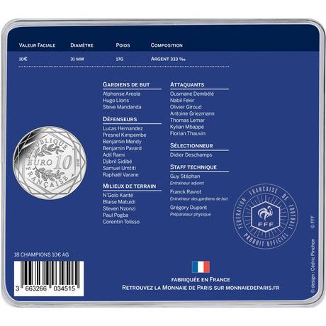 10€ argent - La France championne du monde de Football - Russie 2018 - Monnaie de Paris