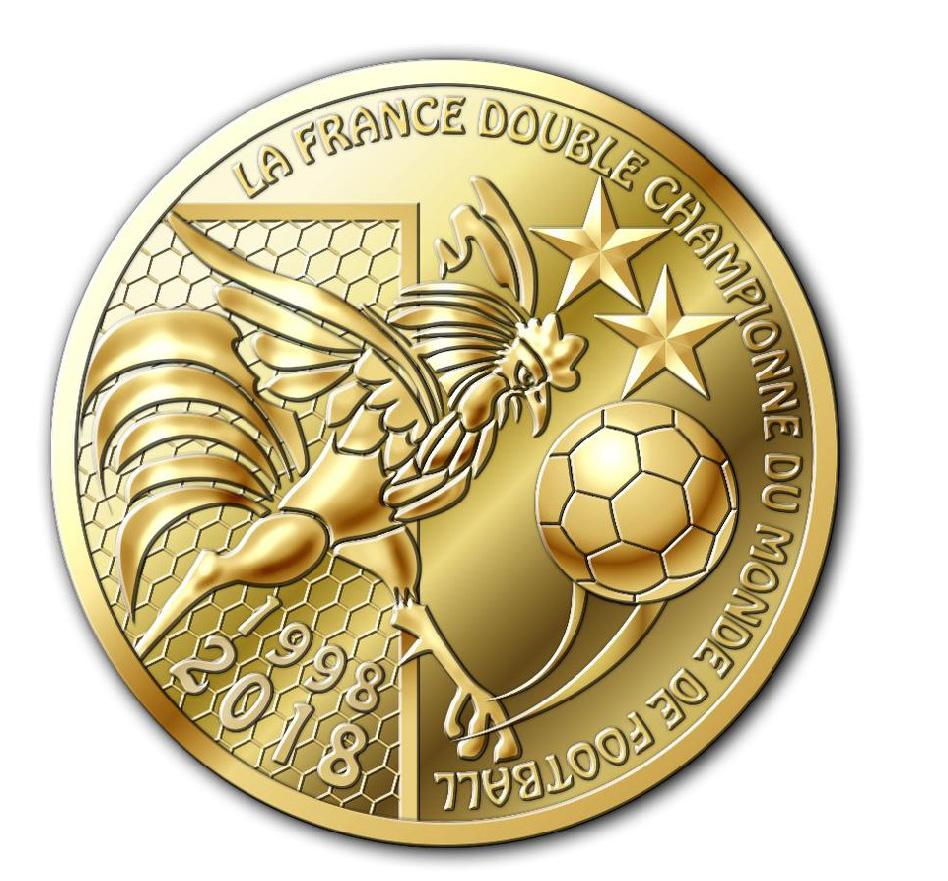 Médaille souvenir - La France double champion du monde de football 1998-2018