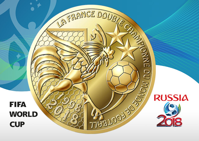 Mini medal Two times champion of the world cup of football 1998-2018