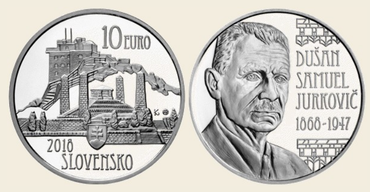 €10 silver coin dedicated to 150th anniversary of Dušan Samuel Jurkovič birth - 2018