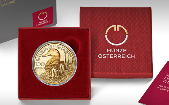 100€  Gold – The Mallard – Wildlife series – Austrian MINT 2018