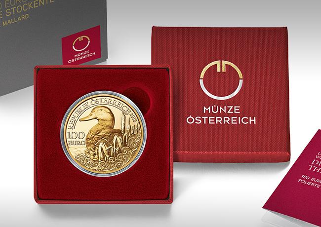 100€  Gold – The Mallard – Wildlife series – Austrian MINT 2018