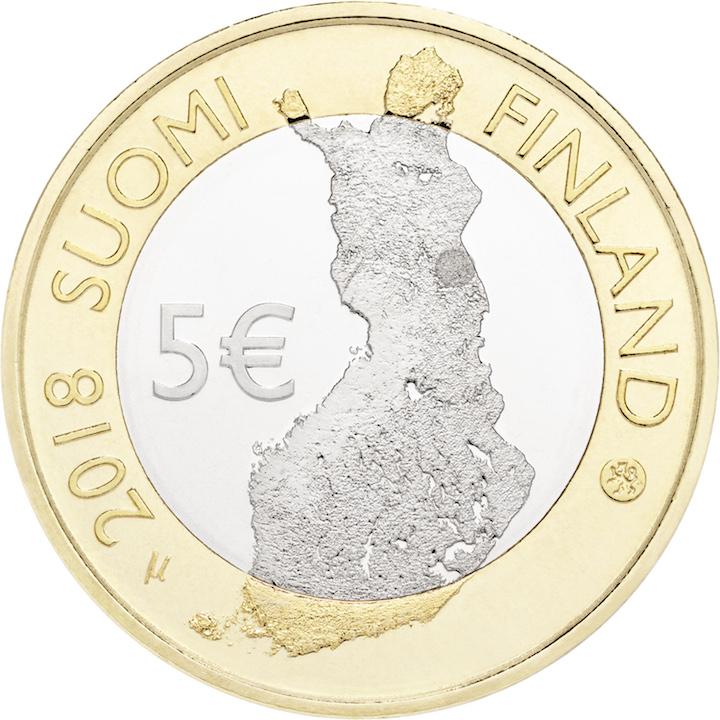 5 € paysage naturel de la rivière Oulankajoki - série Paysages nationaux finlandais 2018