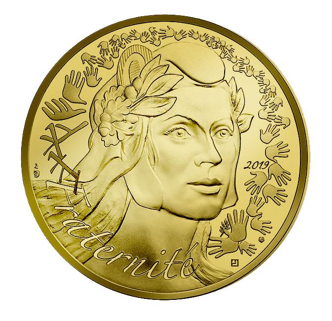 250€ Or La Marianne Fraternité Monnaie de Paris 2019