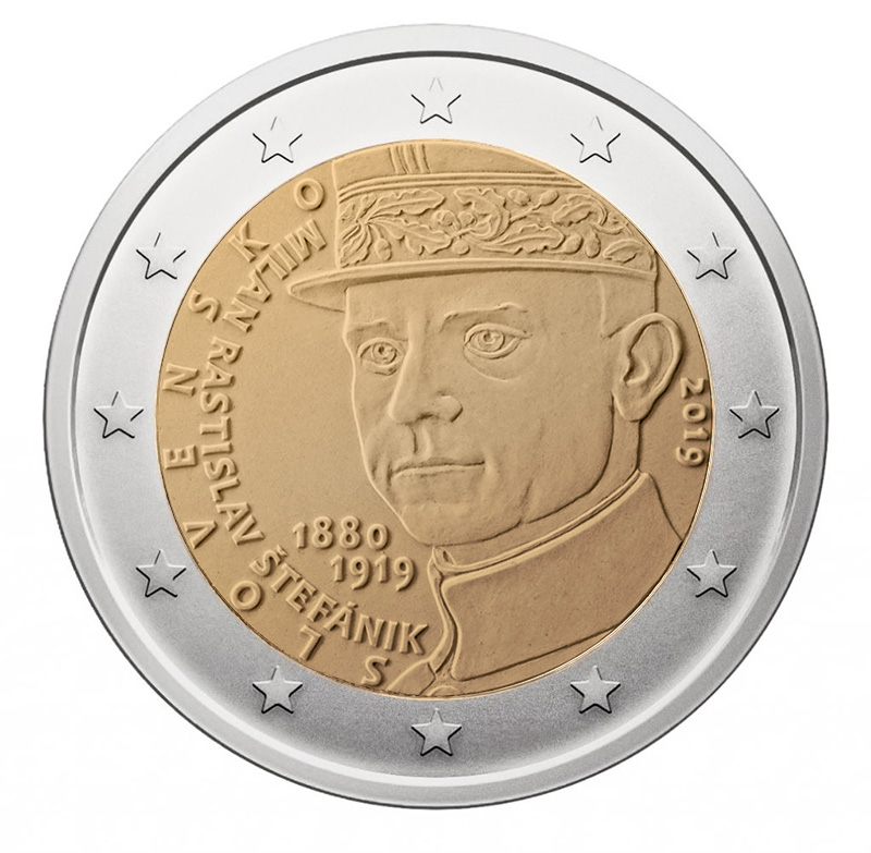 2€ Commemorative coin 2019 - Slovakia Centenary of the death of Milan Rastislav Štefánik - 2 euro commemorative 2019 - 2 euro commemorative coins 2019 - 2 euro 2019 - euro coins 2019 - 2 euro coins 2019 - 2 euro commemorative coins - 2019 commemorative coins - new coins for 2019