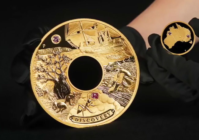 "Discovery"" the gold and pink diamonds coin, unique masterpiece at the price of 2.48 million dollars – Perth Mint 2018"