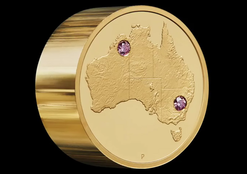"Discovery"" the gold and pink diamonds coin, unique masterpiece at the price of 2.48 million dollars - Perth Mint 2018"