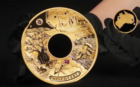 Découverte de «Discovery» la pièce en Or et diamants roses, chef-d'œuvre unique au prix de 2,48 millions de dollars – Perth Mint 2018
