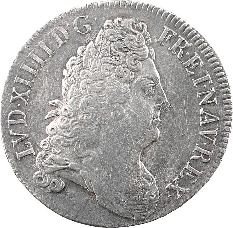 Louis XIV, écu aux 8 L au buste lauré, drapé et cuirassé, 1704 Paris