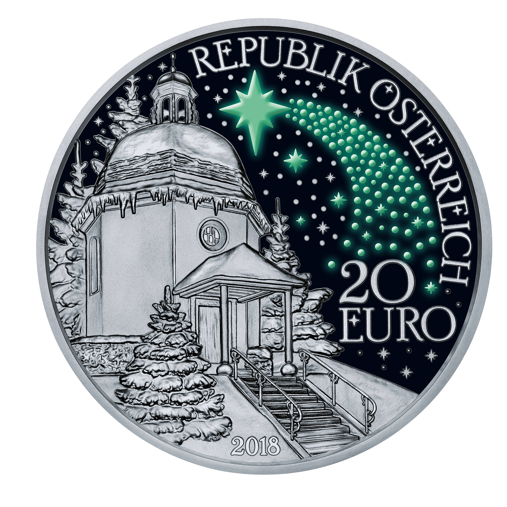 "Austrian 2018 ""Silent night"" 2/3 once silver coin"