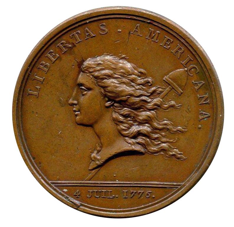 """Médaille """"Libertas Americana"""" - naissance de l'amitié France/Amérique par Augustin Dupré, 1776"""