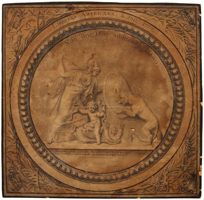"""Médaille """"Libertas Americana"""" - naissance de l'amitié France-Amérique par Augustin Dupré, 1776"""