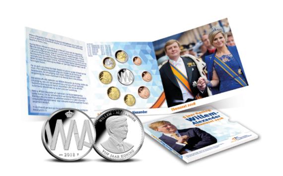 Pays Bas 2018: Set monétaire – 5 ans de règne de Guillaume Alexandre