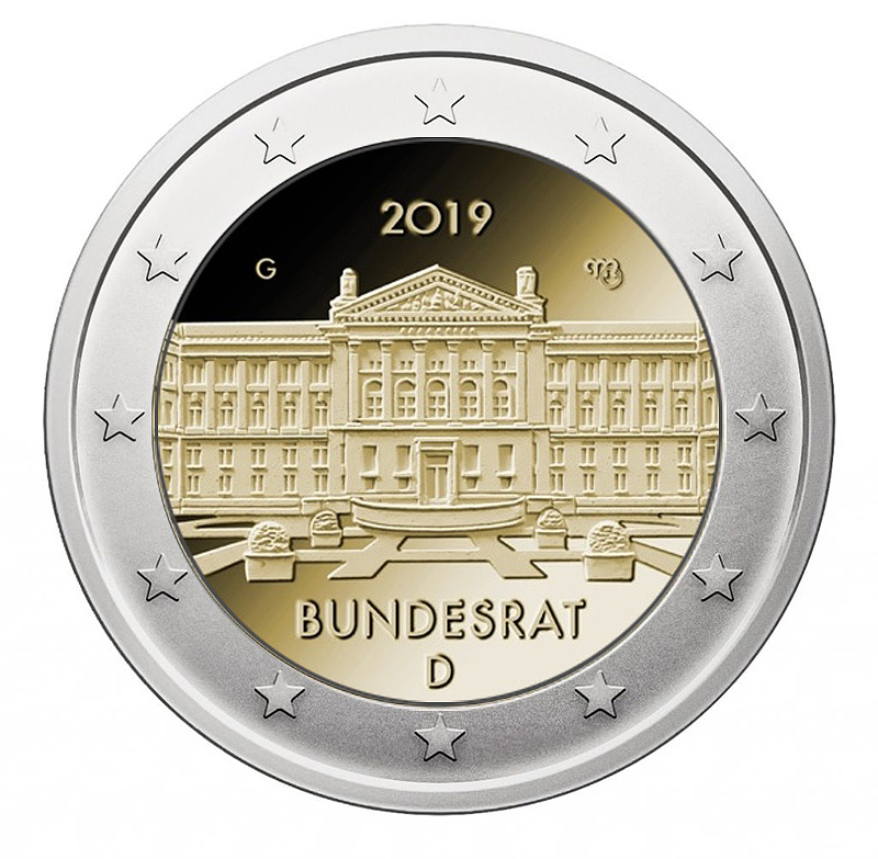 2 euro coin 2019 - 2€ Commemorative coin 2019 - Germany  70th anniversary of the German Bundesrat - 2 euro commemorative 2019 - 2 euro commemorative coins 2019 - 2 euro 2019 - euro coins 2019 - 2 euro coins 2019 - 2 euro commemorative coins - 2019 commemorative coins - new coins for 2019