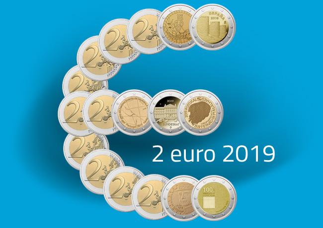 Les pièces de 2 € commémorative 2019