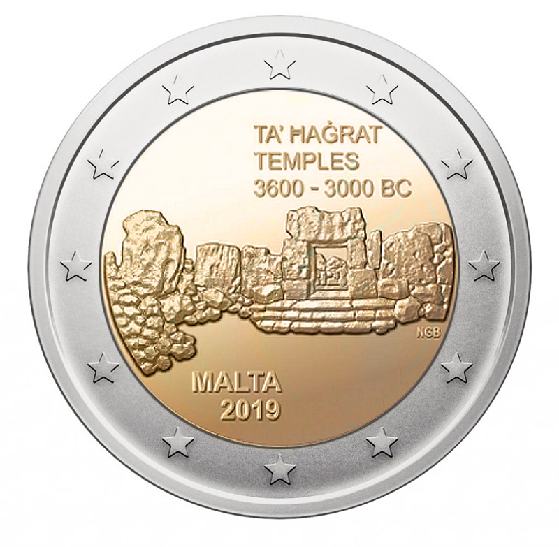 2€ coin 2019 - Malta Temples of Ta' Hagrat à Mġarr-  2 euro commemorative 2019 - 2 euro commemorative coins 2019 - 2 euro 2019 - euro coins 2019 - 2 euro coins 2019 - 2 euro commemorative coins - 2019 commemorative coins - new coins for 2019