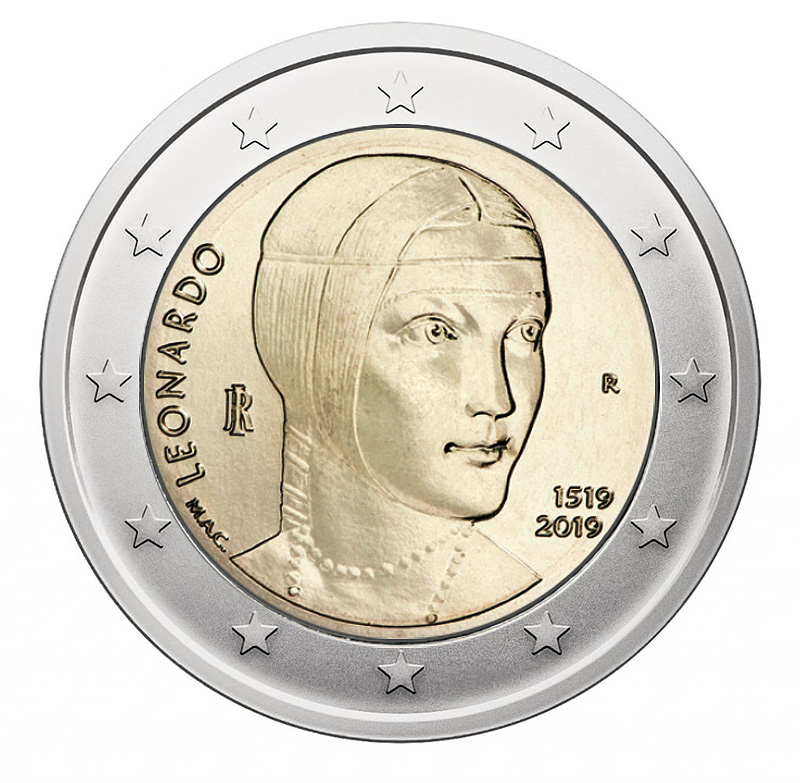2€ coin 2019 - Italia 500th anniversary of the death of leo nardo Da Vinci - 2 euro commemorative 2019 - 2 euro commemorative coins 2019 - 2 euro 2019 - euro coins 2019 - 2 euro coins 2019 - 2 euro commemorative coins - 2019 commemorative coins - new coins for 2019
