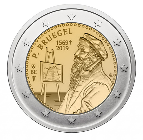 2€ coin 2019 - Belgium Commemoration of the 450th anniversary of the death of the painter Pieter Bruegel - 2 euro commemorative 2019 - 2 euro commemorative coins 2019 - 2 euro 2019 - euro coins 2019 - 2 euro coins 2019 - 2 euro commemorative coins - 2019 commemorative coins - new coins for 2019