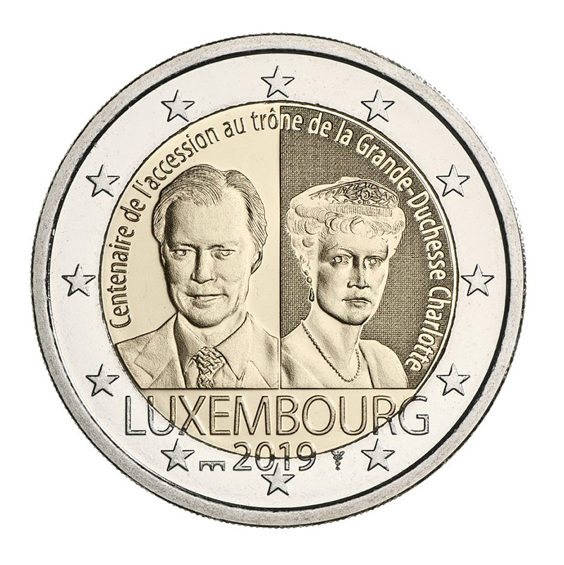 2 euros  coin 2019 - Luxembourg 100th anniversary of the arrival on the throne and marriage of Grand Duchess Charlotte - 2 euro commemorative 2019 - 2 euro commemorative coins 2019 - 2 euro 2019 - euro coins 2019 - 2 euro coins 2019 - 2 euro commemorative coins - 2019 commemorative coins - new coins for 2019