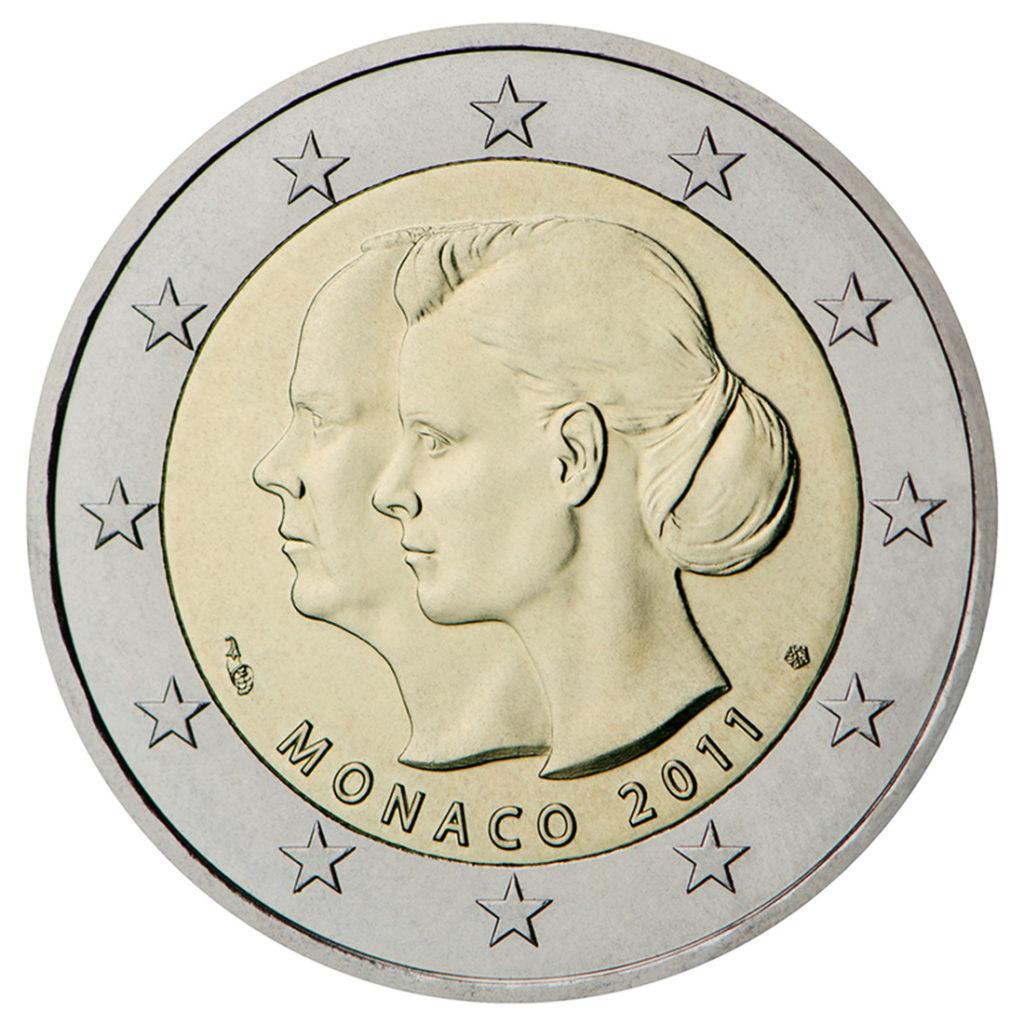 2 euro mariage princier Monaco 2011 - Valeurs et tirage des pièces euros de la Principauté de Monaco - Pièces de circulation et commémoratives