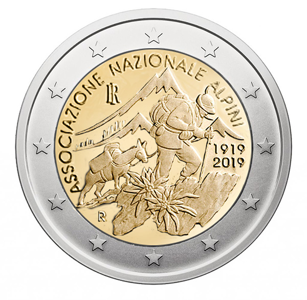 2€ coin 2019 - Italia Centenary of the Associazione Nazionale Alpini