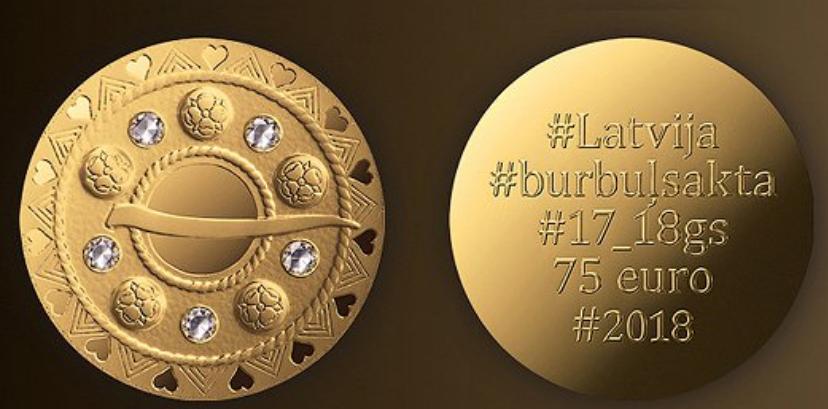 Pièce en or 75€ Lettonie 2018 – Fibule bulle, dernière pièce de la trilogie en or