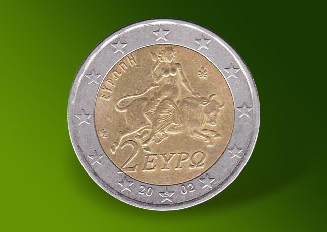 Une Pièce 2 Euros Grec De 2002 à 80 000 Euros Une Pièce 2 Euros