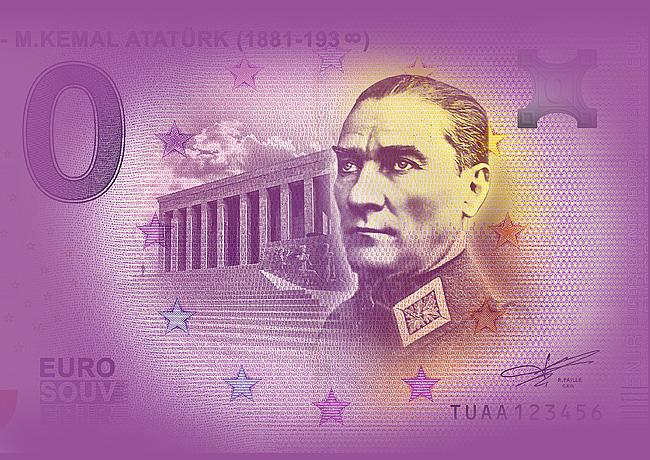 Zero euro ATATÜRK 2019 Turquie – Euro Souvenir Banknote