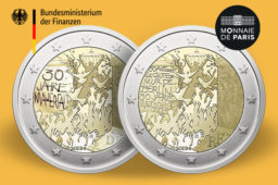 2019 french and german joined €2 commemorative coin: Fall of Berlin wall