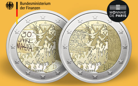 2 euro 2019, 30 ans après la chute du mur de Berlin, projet commun France Allemagne