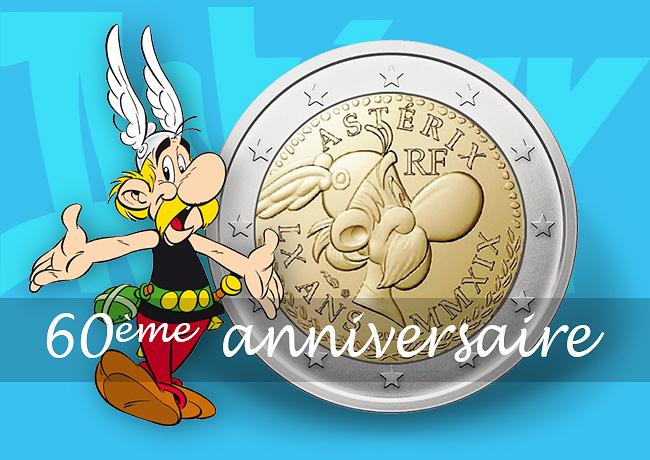 Pièce de 2 euro Astérix commémorant les 60 ans d'Astérix, un anniversaire magnifix !