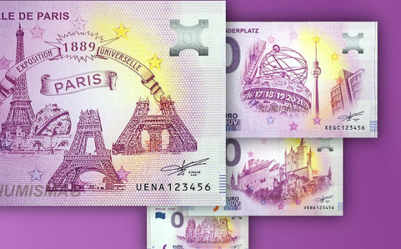 Zero euro banknotes in 2019 BERLIN World Money Fair