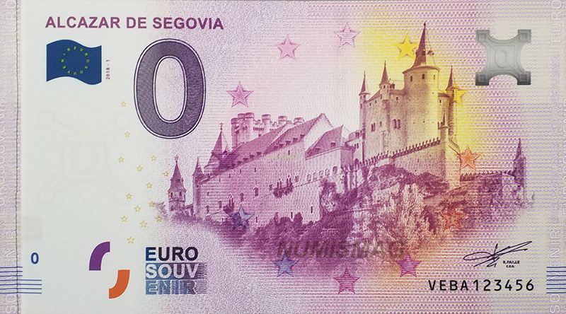 Billet zero euro Alcazar de Segovia Espagne