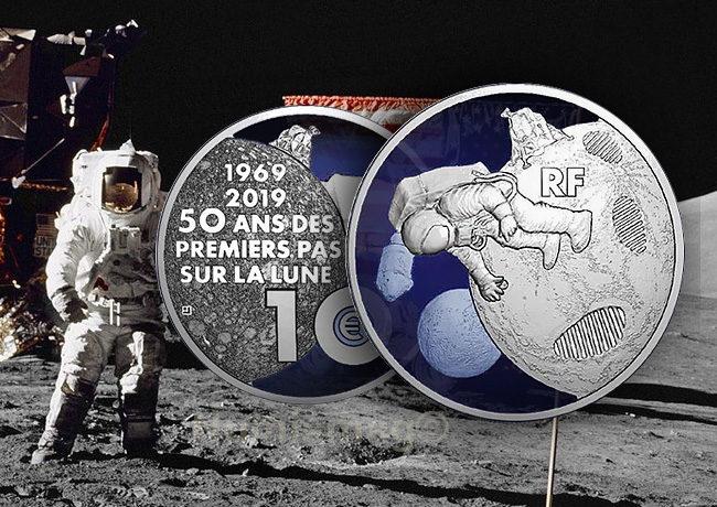 Pièces 50 ans des premiers pas sur la Lune, le 20 juillet 1969 avec la mission Apollo 11