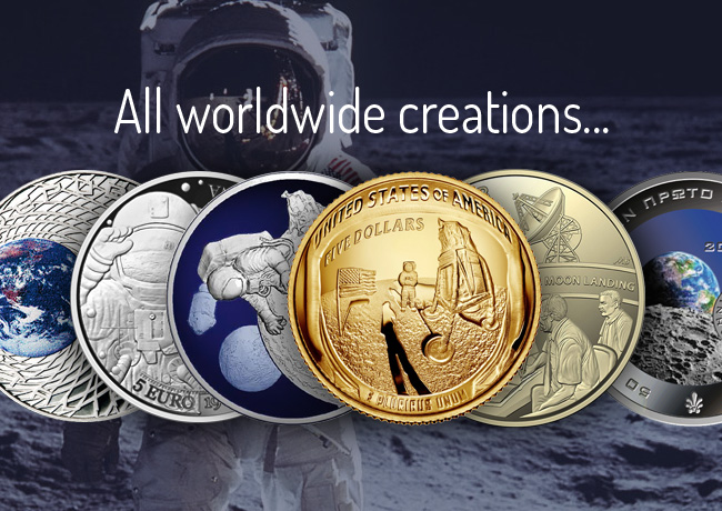 50th anniversary 1969 moon landing, worldwide coins and medals