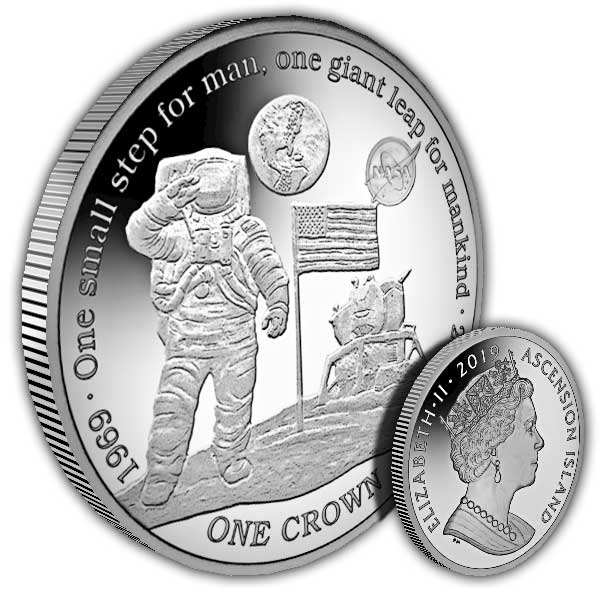 50th anniversary moon landing, worldwide coins and medals