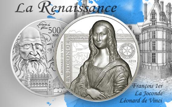 Pièces série Renaissance – Léonard de Vinci – la Joconde, Mona lisa, François Ier et le château d'Amboise
