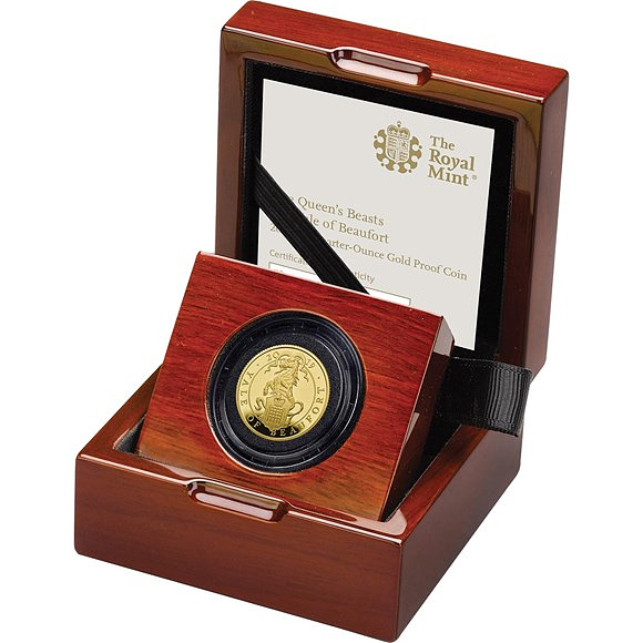 Quarter-Ounce Gold Proof Coin-The Yale of Beaufort - Queen's Beasts collection - Royal Mint 2019