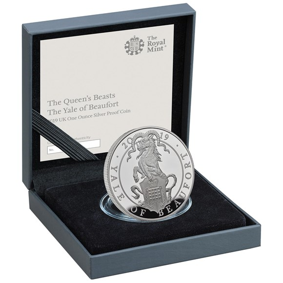 Five-Ounce Silver Proof Coin-The Yale of Beaufort - Queen's Beasts collection - Royal Mint 2019