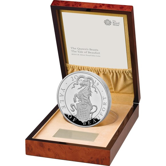 Silver Proof Kilo Coin-The Yale of Beaufort - Queen's Beasts collection - Royal Mint 2019