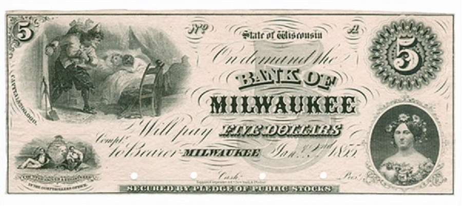 1861 Withdraw of WINSCONSIN dollars: riots for banknotes