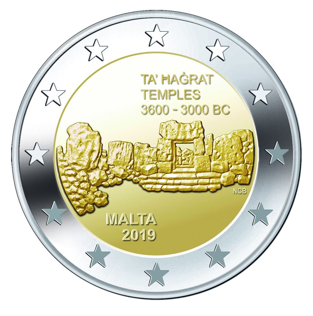 Malta 2019 - Euro coin set BU Ta' Hagrat F Mintmark - 2 euro coin temples of Ta' Hagrat