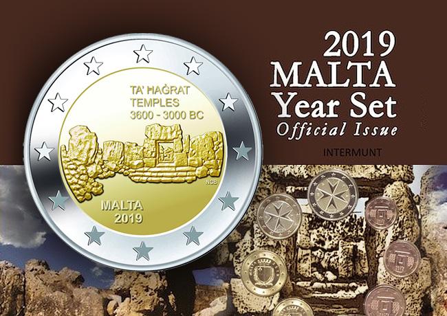 Coffret BU Euro MALTE 2019 – TEMPLE DE TA'HAGRAT  – pièce de 2 euro temples de Ta' Hagrat