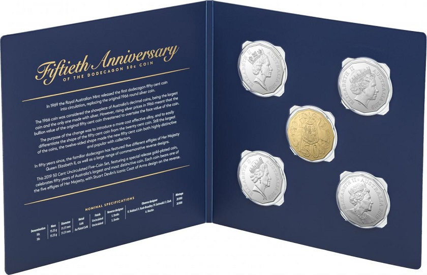 Australia celebrates 50th anniversary of 50 cents with a special coin set