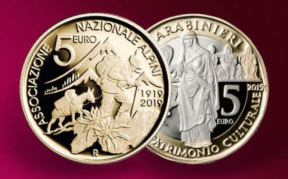With two New 5 Euro Commemoratives coins Italian Mint Commemorates Carabinieri and Alpine Corps