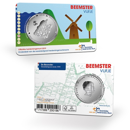 2019 €5 silver and €10 gold Beemster coin, from the KNM