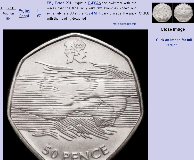 2011 50 pence swimmer coin - the rarest 50 pence coin, since